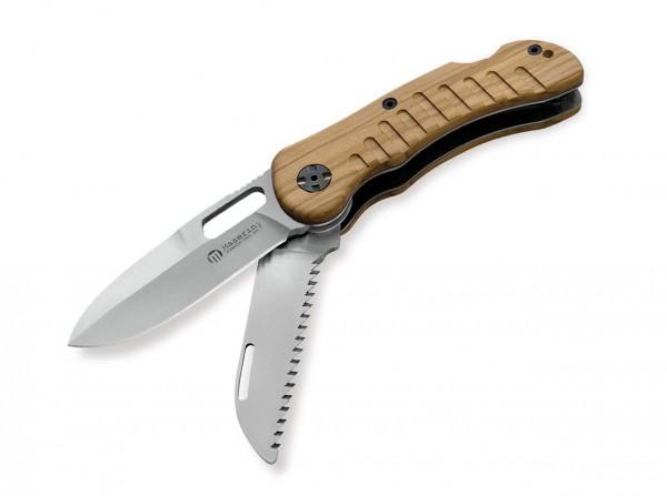 Taschenmesser, Braun, Daumenöffnung, Backlock, 440C, Olivenholz