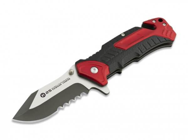 Taschenmesser, Rot, Flipper, Linerlock, 7Cr17MoV, Aluminium