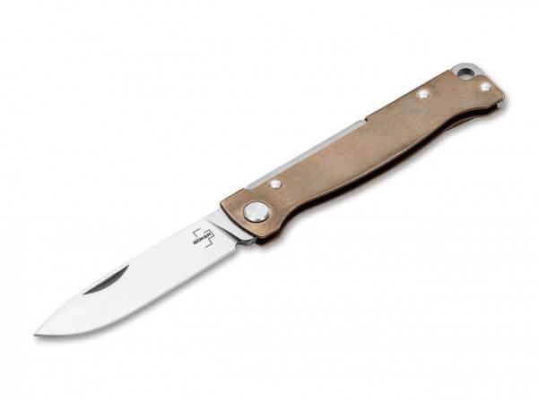 Taschenmesser, Gold, Nagelhau, Slipjoint, 12C27, Messing
