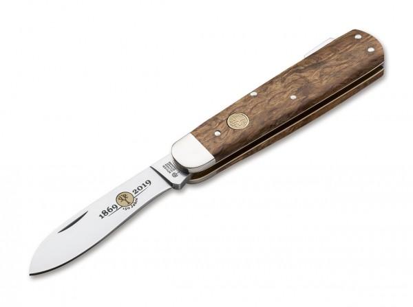 Taschenmesser, Braun, Nagelhau, Backlock, 440C, Maserbirkenholz