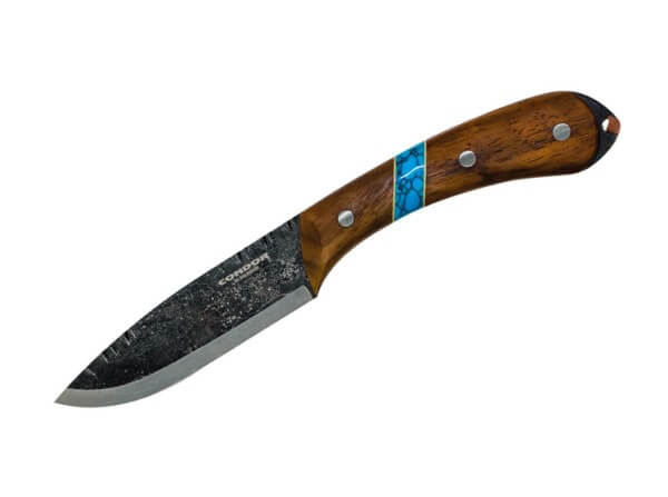 Feststehendes Messer, Mehrfarbig, Feststehend, 1095, Walnussholz