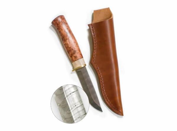 Feststehendes Messer, Braun, Feststehend, Damast, Birkenholz