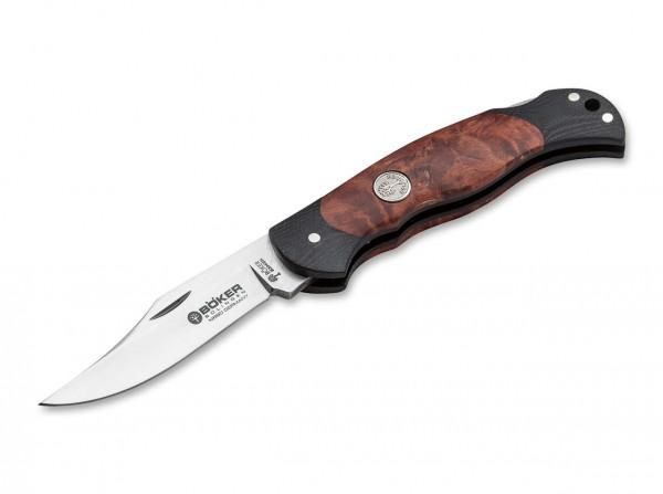 Taschenmesser, Braun, Backlock, N690, Maserbirkenholz