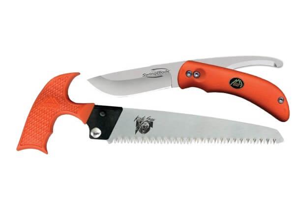 Feststehendes Messer, Orange, Feststehend, AUS-8, Plastisches Elastomer