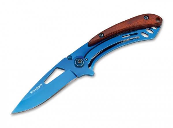 Taschenmesser, Blau, Flipper, Linerlock, 440A, Stahl