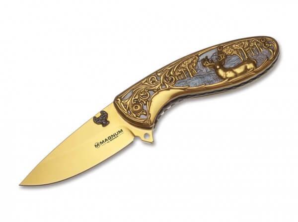 Taschenmesser, Gold, Flipper, Linerlock, 440A, Edelstahl
