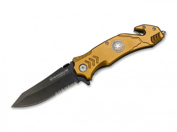 Taschenmesser, Gold, Flipper, Linerlock, 440A, Aluminium