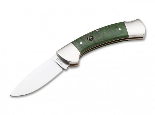 Taschenmesser, Grün, Nein, Backlock, 440C, Maserbirkenholz