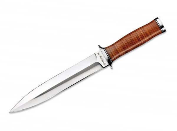Feststehendes Messer, Braun, Feststehend, 440A, Leder