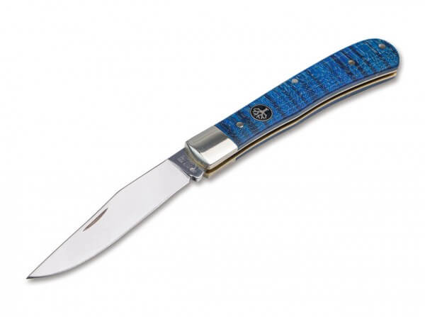 Taschenmesser, Blau, Nagelhau, Slipjoint, N690, Riegelahorn