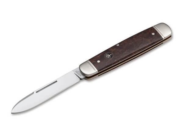 Taschenmesser, Braun, Nagelhau, Slipjoint, N690, Maserbirkenholz