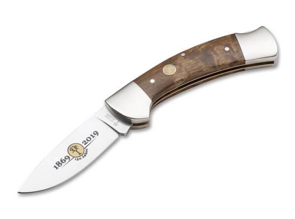 Taschenmesser, Braun, Backlock, 440C, Maserbirkenholz